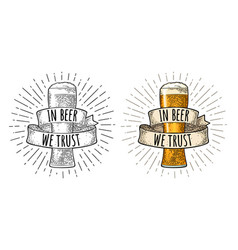 glass beer with ribbon engraving color vector image