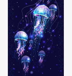 Glowing vivid transparent underwater jellyfishes vector