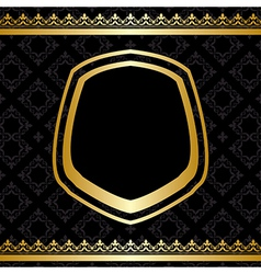 Golden frame and decorations on black background vector