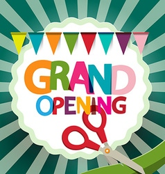 Grand Opening Retro with Flags and Scissors on vector image