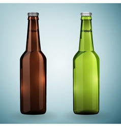 Green and brown bottles of beer on a grey vector
