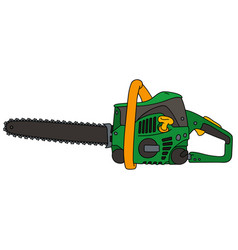 green and yellow chainsaw vector image