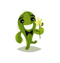 green cactus with bow-tie and flower in hand vector image