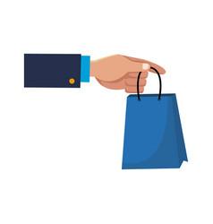 hand holding paper bag shop image vector image