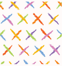 Hand painted textured cross seamless pattern vector