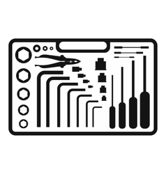 Hand tools set black simple icon vector