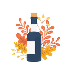 happy thanksgiving day wine bottle foliage autumn vector image