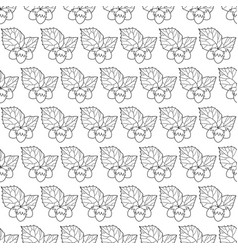 Hazel leaf and nuts outline pattern vector