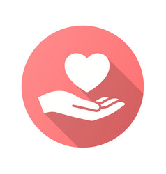 Heart in hand icon with long shadow for graphic vector