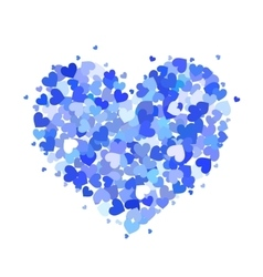 heart made up little blue hearts isolated on vector image