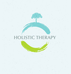 Holistic therapy tree with roots on organic paper vector