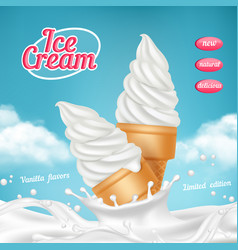 ice cream ads natural frozen ice cream dessert vector image