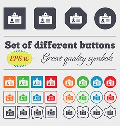 Identification card icon sign Big set of colorful vector