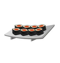 japanese sushi rolls on the white plate vector image