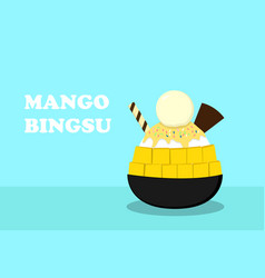 korean dessert mango bingsu on blue art vector image