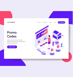 Landing page template of online promo codes vector