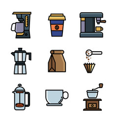 Lineal color coffee vector