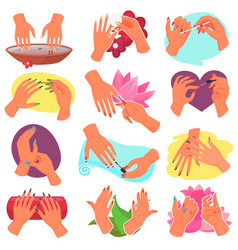 Manicure manicured hands and manicuring vector