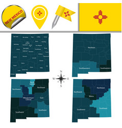 Map new mexico with regions vector
