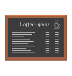 Menu board at a restaurant or cafe wooden frame vector