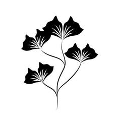 minimalist tattoo flower nature silhouette art vector image