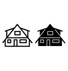 Modern cottage line and glyph icon small house vector
