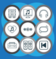 Multimedia icons set with headphone computer vector