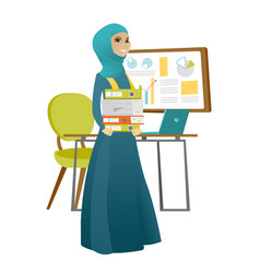 Muslim business woman holding pile of folders vector