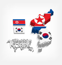 north korea and south korea 3d vector image