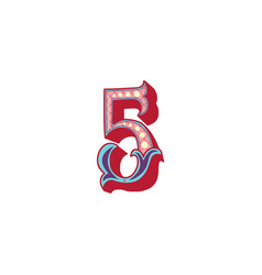 Number 5 lettering vector