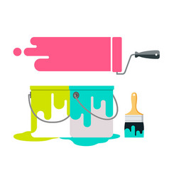 paint brush and paint bucket design isolate vector image