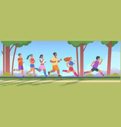 People 5k run men and women group running 5k vector