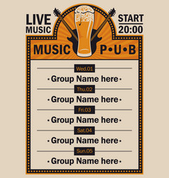 Poster for beer pub with live music with guitars vector