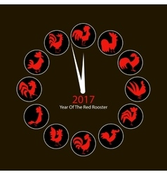 Rooster clock symbol of 2017 new year vector