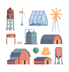 rural buildings farm agricultural collection vector image