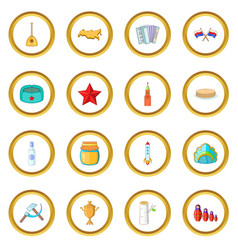 Russia icons circle vector