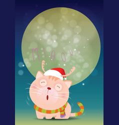 Santa cat is alone and cries miaow front of full vector