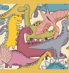 seamless pattern wit dinosaur cute baby vector image