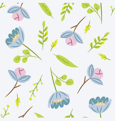 seamless pattern with leaves and blue flowers vector image