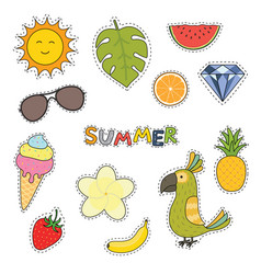 set cute summer stickers flower fruits parrot vector image