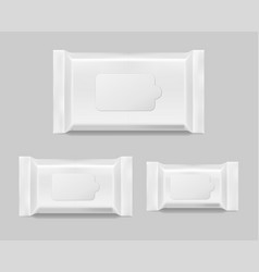 Set of wet wipes napkins template isolated white vector
