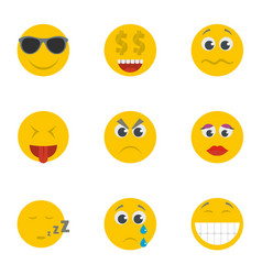 smile icons set cartoon style vector image