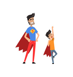 smiling super hero dad and his son spending time vector image