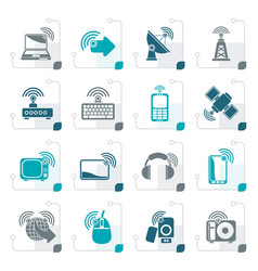 stylized wireless and technology icons vector image