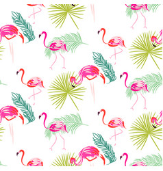 Summer flamingo and palm tropic branches seamless vector
