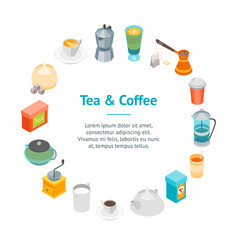 tea and coffee banner card circle 3d isometric vector image