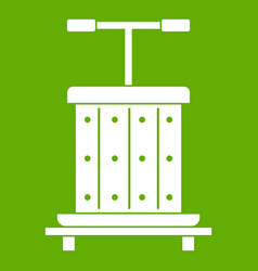 traditional wooden press for grapes icon green vector image