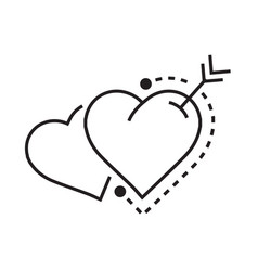 Two heart and arrow vector