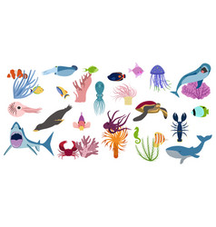 underwater inhabitabts flat set vector image