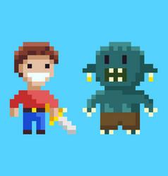 War between knight and geek pixel game vector